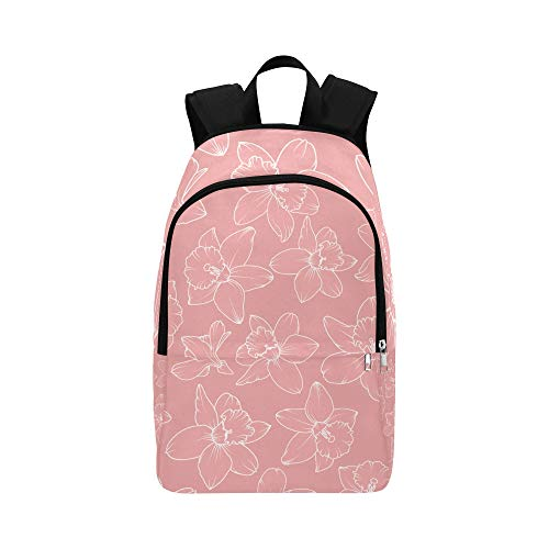 NANA Best Backpack Pink Romantic Retro Daffodil Flowers Durable Water Resistant Classic Clear Travel Toiletry Bag Casual Bag Hiking Pack Bag Chic Backpack