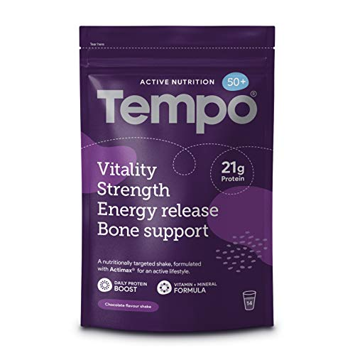 Tempo Active Nutrition 50+, A Nutritionally Targeted Whey Protein Powder Shake for ages 40/50/60+, 14 Servings (Chocolate), No Added Sugar, Includes Multivitamins For Adults, Vitamin D Folic Acid B12