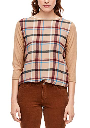 s.Oliver Damen 3/4-Arm-Shirt mit Blusenfront brown check 42