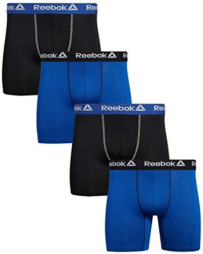 Reebok Herren-Boxershorts mit Komforttasche, 4 Stück, Schwarz/Blau/Schwarz/Blau, Größe L
