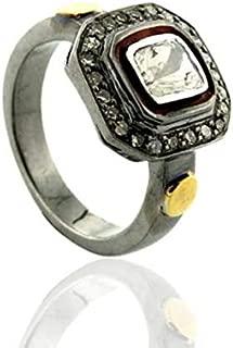 Mughal Style Square Rose Cut Diamond Uncut Diamond Polki Dterling Silver Filigree Royal Ring Statement Ring