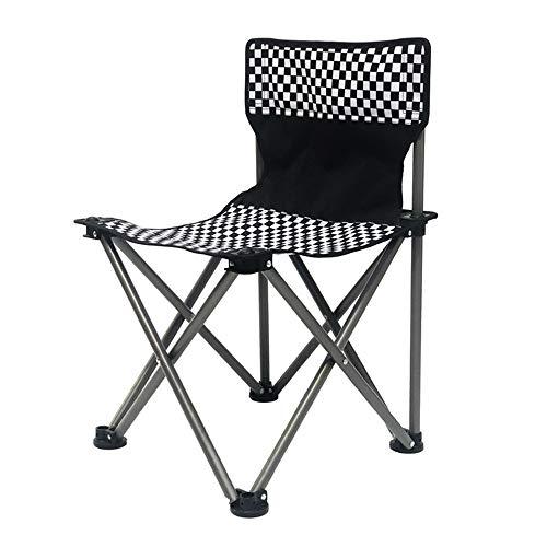 Allibuy-Sport Portable Léger Pliable Camping Chaise Légère Potable Camping pêche en Plein air Chaise Pliante Voyage Seat Easy Set Up Assemblée pêche Pique-Nique (Color : Black, Size : 37x37x58cm)