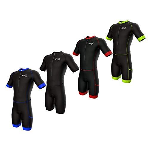 Sparx Men Triathlon Suit Short Sleeve Aero Tri Suit (Black/Green, 2XL)