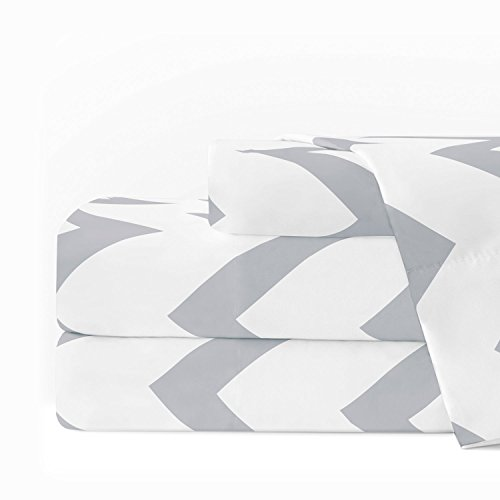 Egyptian Luxury 1600 Series Hotel Collection Chevron Pattern Bed Sheet Set - Deep Pockets, Wrinkle and Fade Resistant, Hypoallergenic Sheet and Pillowcase Set - King - Light Gray/White