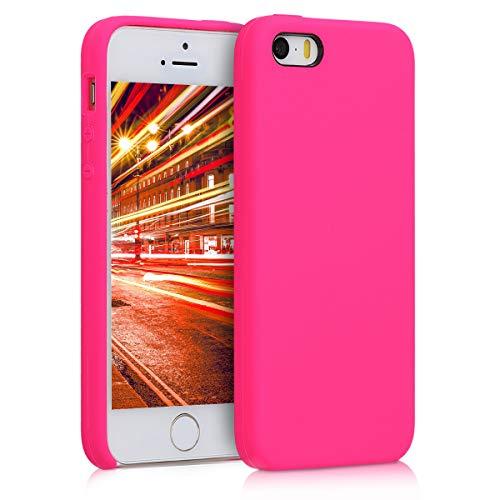 kwmobile Funda Compatible con Apple iPhone SE (1.Gen 2016) / 5 / 5S - Carcasa de TPU para móvil - Cover Trasero en Rosa neón