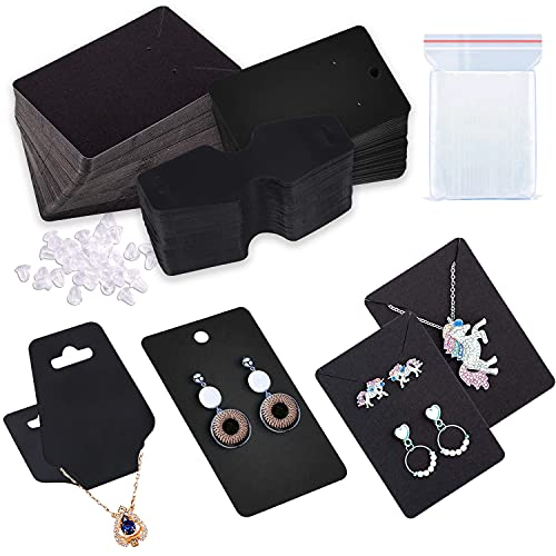 150 Pcs Earring Cards for Jewelry, Necklace Cards & Bracelet Cards, Black Jewelry Display Cards with a Pack of Earring Backs & 150 Self-Sealing Bags, Kraft Paper Tags Small for Packaging Supplies