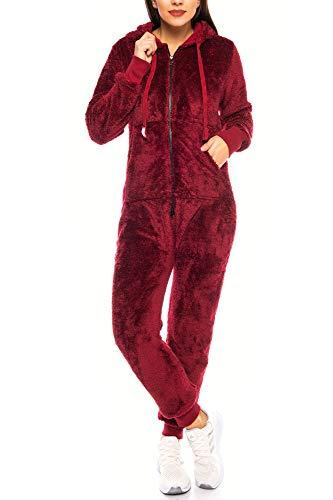Crazy Age Damen Jumpsuit aus kuscheligem Teddy Fleece   Overall   Ganzkörperanzug Flauschig  Homewear (Weinrot, XXL~44)