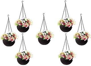 Round Gamla Pot Flower Hanging Round Rattan Woven Plastic Flower Hanging Basket Beautiful Pot for Garden Balcony (7 Pcs, D...