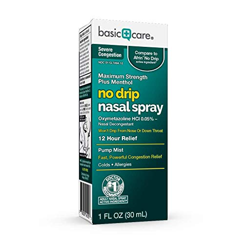 Amazon Basic Care Severe Congestion Nasal Spray, Oxymetazoline HCl; Provides 2 Hour Nasal Congestion Relief, 1.0 Fl Oz