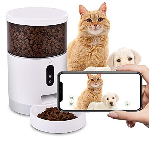 Viugreum Distributore Automatico Cibo per Cani e Gatti con WiFi 1080P Videocamera App, 4L Dispenser Automatico cibo Gatti, Visione Notturna, Altoparlante, Microfono, Disegnato per Animali Domestic
