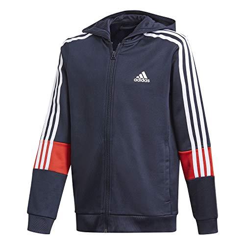 adidas B A.r. 3s Hood Felpa per Bambini, Bambino, Felpa, GM8456, Blu/Rosso (Tinley/Rojint), 12 Anni