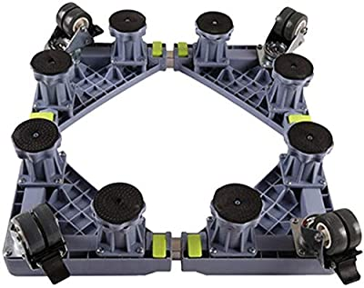WYJW Washing machine holder Universal padded mobile base universal wheel holder, height-adjustable base unit with 4 wheels 8 powerful feet (color: gray)
