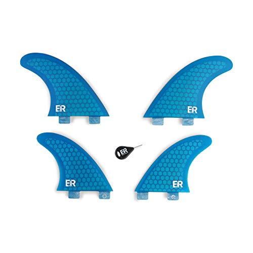 Eisbach Riders Surfboard FCS Fibra de vidrio Honeycomb Quad Aletas para tabla de surf y SUP (azul)