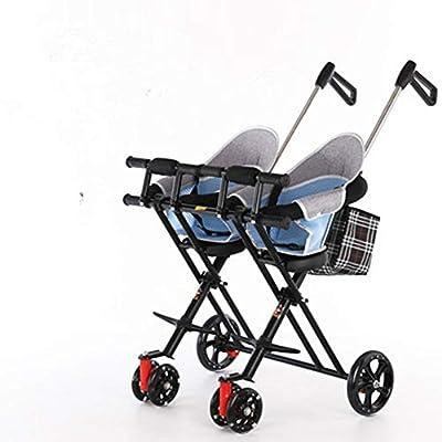 Baby trolley Cochecito Doble para niños, Cochecito Plegable Ligero, Carrito de Doble Asiento con sombrilla y cojín, Cerca y apoyabrazos para Evitar vuelcos: para niños de 1-5 años