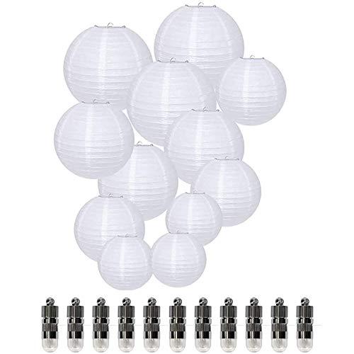 Dazone® 12 Stücke Weiße Papier Laterne Lampions rund Lampenschirm + 12er Warmweiße Mini LED-Ballons Lichter Hochtzeit Dekoration Papierlaterne