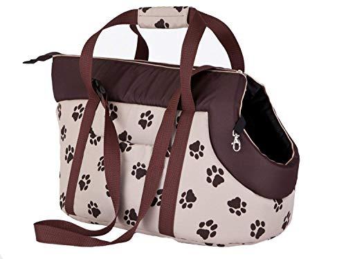 Hobbydog - Bolsa de Transporte para Perros y Gatos, Talla 1, Color Beige con Huellas de Huellas