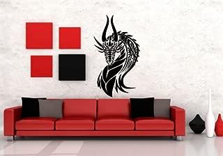 Wall Vinyl Sticker Decals Mural Design Beautiful Fire Mid-evil Tribal Dragon Tattoo Face 700