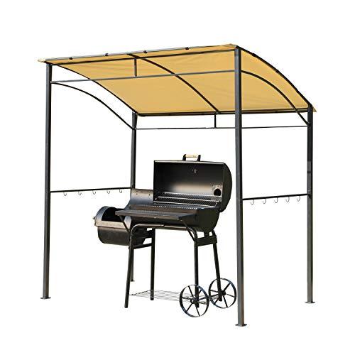 miozzi Riparo per Barbecue Pergola da Giardino 2.15x1.5x1.8/2.2m in Acciaio Beige