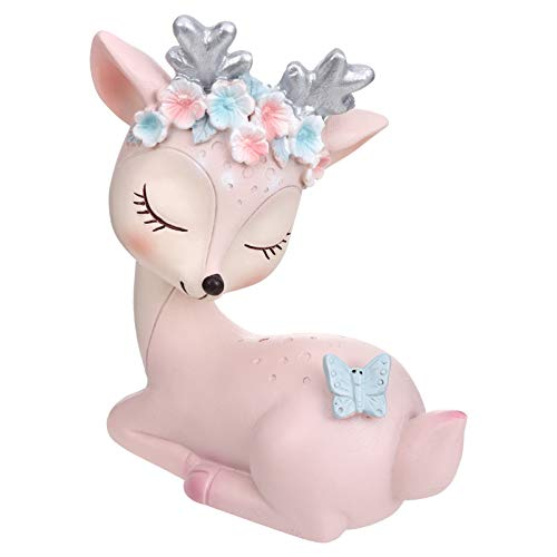 VICASKY Deer Animal Figures Resin Animal Ornaments Figurines Cake Topper for Home Car Tabletop Resin Craft Art Statue Christmas Decoration ( Pink )