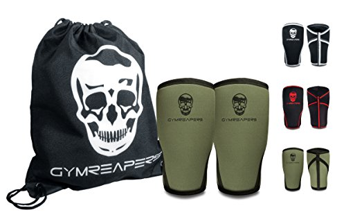 Knee Sleeves (Pair w/Bag) - Knee Compression Sleeve Support for Squats, Weightlifting, and Powerlifting - Gymreapers 7MM Neoprene Sleeves - 1 Year Warranty (Military Green/Black, Medium)
