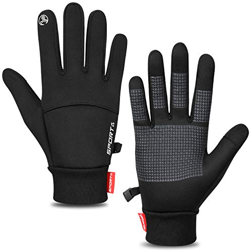 Keaplayee Winter Gloves Lightweight Running Gloves Warm Gloves Liner for Running (S, Pure Black)