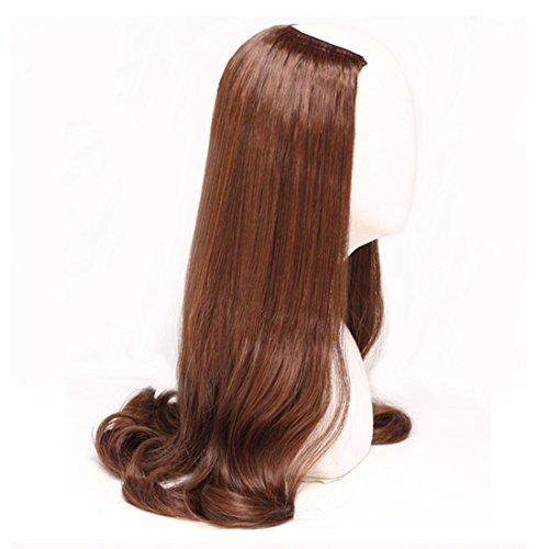 Extension de cheveux postiches Fashian Demi Perruques Pour Femmes Humain Long Cheveux Bouclés Perruque En U Perruques Synthétiques à Haute Température Pas de Trace Et Invisible Cheveux 220g Extensions