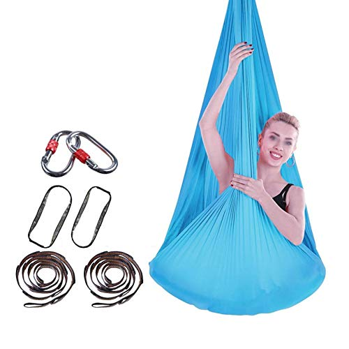 ZHJIUXING SF Yoga Hammock Set 4mx2.8m Fitness Anti Gravity with 200 KG Load For Inversion Exercise Pilates Gymnastics,Indoor Hammock Chair, Blue