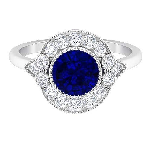 Anillo de zafiro azul creado en laboratorio de 7 mm, anillo de halo de diamante HI-SI, anillo solitario de oro, anillo de compromiso de corona, 18K Oro blanco, Size:EU 48