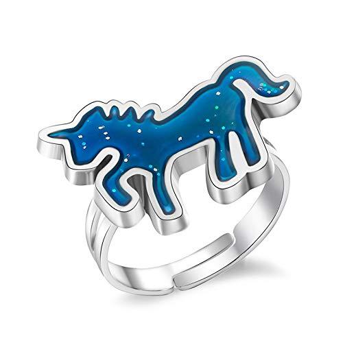 BQZB Ring Einhorn Farbwechsel Stimmungsring Emotion, wechselbarer Ring für Frauen, Temperaturkontrolle, offene Emaille, Geschenk für Frauen