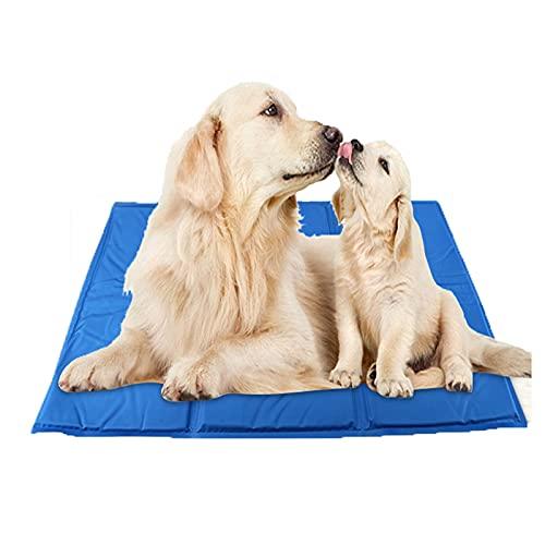 AXTMR Almohadilla Gel enfriamiento para Mascotas de Verano, Almohadilla de Hielo Plegable Impermeable Multifuncional de disipación de Calor rápida, S-3XL Opcional, Peso máximo 50 kg,Blue,3XL