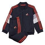 adidas I Shiny Ts Tuta, Unisex bimbi, Top:Legend Ink/Hi-Res Red S18 Bottom:Legend Ink F17/Hi-Res Red S18, 3-6M