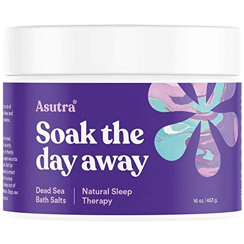 ASUTRA Dead Sea Bath Salts (Natural Sleep Therapy), 16 oz | Sweet Dreams & Insomnia Relief | Soak in Rich & Vital Healing Minerals | Natural & Organic Lavender, Rosemary, & Ylang Ylang Essential Oils