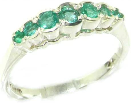 925 Sterling Silver Real Deluxe service Genuine Womens Emerald Band Ring