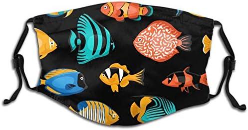 Washable Masks Turbans Balaclavas Reusable Men And Women Fashion Small Fish Shark Pattern Children product image
