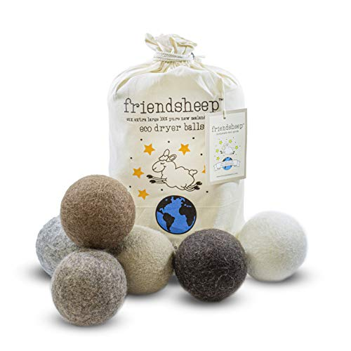Friendsheep Wool Dryer Balls 6 Pack XL Organic Premium Reusable Cruelty Free Handmade Fair Trade No Lint Fabric Softener Color Brown Beige - Natural Mystic
