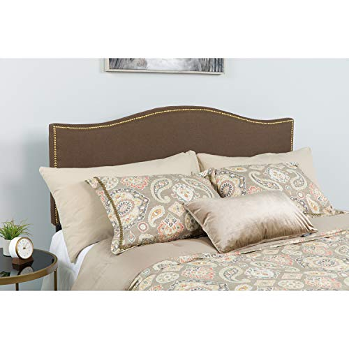 Flash Furniture Lexington Upholstered Twin Size Headboard with Accent Nail Trim in Dark Brown Fabric