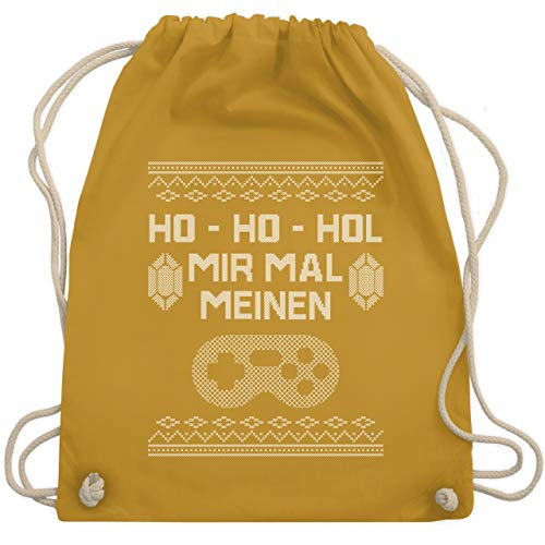 Shirtracer Weihnachten & Silvester - Ho ho Hol mir meinen Controller - weiß - Unisize - Senfgelb WM110 - Turnbeutel und Stoffbeutel aus Baumwolle