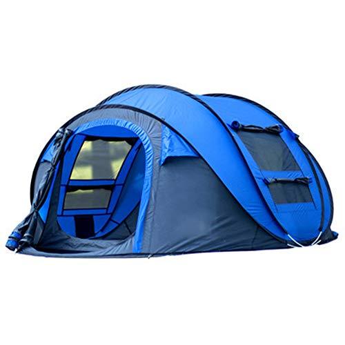 LDPB Family Camping Zelt, im Freien kostenlos eingebautes offenes Sofortzelt, 200x290x130cm großes einlagiges winddichtes Mückenschutzzelt, geeignet für 3-4 Personen Tunnelzelt-Blue