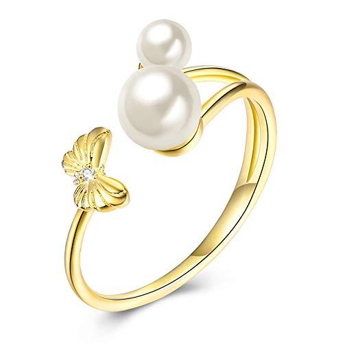 Zolkamery Damesring, 925 sterling zilver, goud, vlinderparel, open instelbaar, verlovingsring, bruiloftsring, verstelbare partyring, cadeau voor vrouw en vriendin, wordt geleverd met geschenkdoos