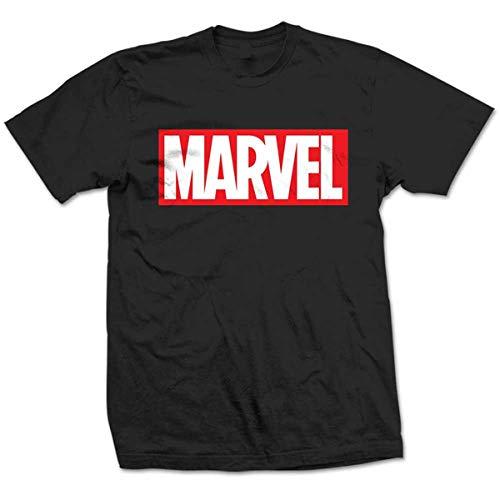 Marvel Comics Herren Box Logo T-Shirt, Schwarz, XXL