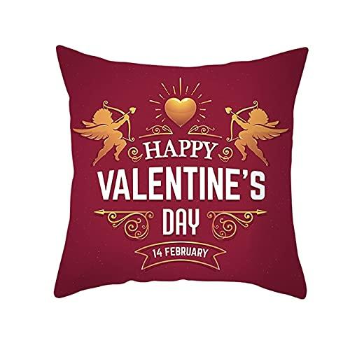 Agoble Cojines Sofa, Fundas Cojines Sofa Poliéster 1 50X50cm Funda Cojin Oro Rojo Feliz Día De San Valentín Ángel