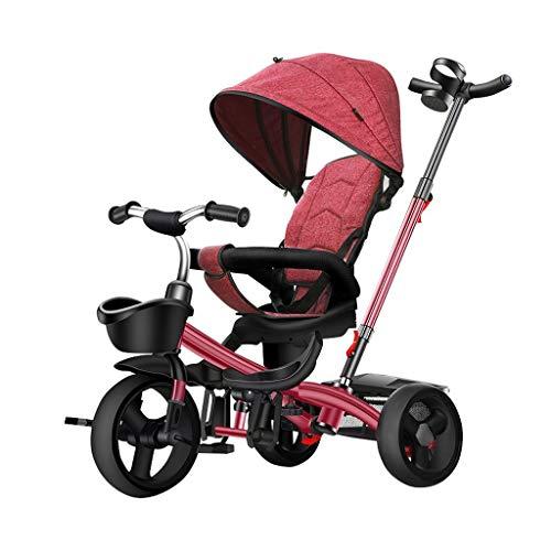 GYF Triciclo para niños 2 con 1 manillar de empuje / rueda de embrague / asiento giratorio (color: rojo)