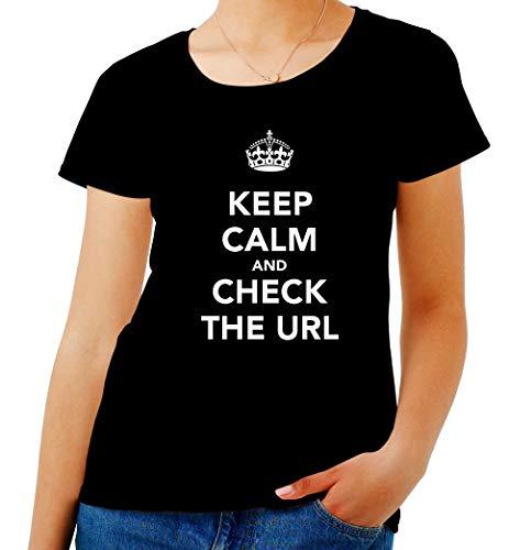 T-Shirt Donna Nero TKC1926 Keep Calm And Check The URL