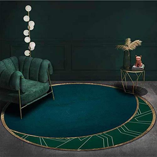 Tapis Rond Moderne Chic Vert émeraude Vert, pour Salon Chambre canapé de Chevet Chambre d