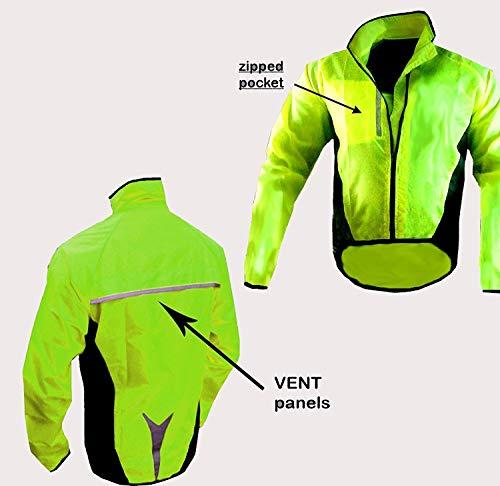CICLISMO VISIBLE CHAQUETA IMPERMEABLE, color - YELLOW HI VIZ, tamaño large