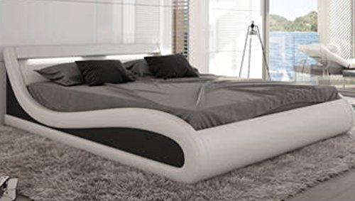 w1a Designer Paladium Weiß LED Beleuchtung Wasserbett 180 x 200 cm Dual Designerbett Softside Komplett Set