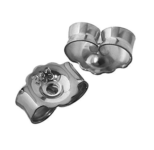 NKlaus 1 Paar 333 Weißgold 8 Karat Gold 5,2mm Gegenstecker für Ohrstecker Ohrringe Ohrstopper Pousetten Ohrmutter Butterfly Schmetterling Verschluss Loch: 0,8mm 4821