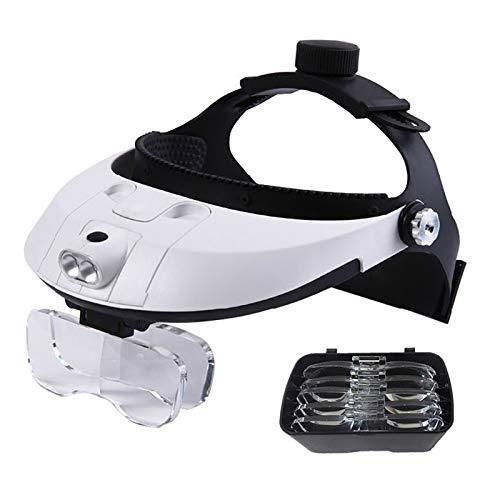 Visera de Lupa iluminada con Diadema de Manos Libres con luz LED -1X a 3,5X Gafas de Aumento montadas en la Cabeza del Auricular con Zoom con Luces para tasación de Joyas, reparación electrónica