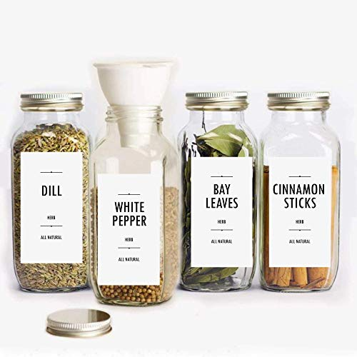 100 Minimalist Spice Labels, Modern Kitchen Storage Label, Printed pantry stickers + 3 Blanks to write-on