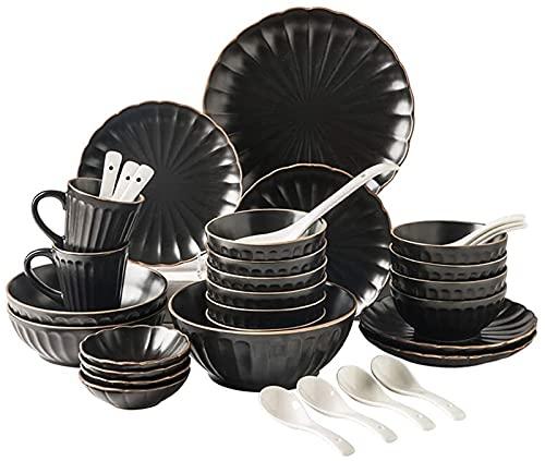 Juego de Platos, Conjuntos de Cena de cerámica (35 Piezas), tazón/Plato/Cuchara | Conjunto de vajillas de Forma pétalo, Conjunto de combinación de Porcelana de Estilo Minimalista nórdico, Negro,